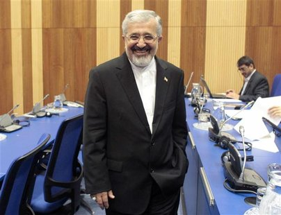 Iran's International Atomic Energy Agency (IAEA) ambassador Ali Asghar Soltanieh smiles as he attends a board of governors meeting at the UN