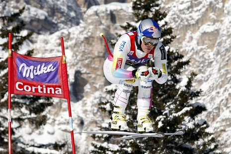 Lindsey Vonn of the U.S. goes airborne during the second training session in the women's downhill event at the Alpine Skiing World Cup in Co