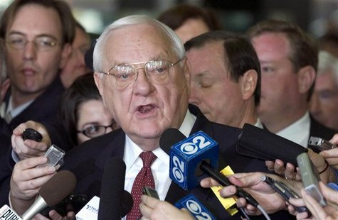 Former Illinois Governor George Ryan gives a statement after being found guilty in his corruption trial in the federal court in Chicago in t