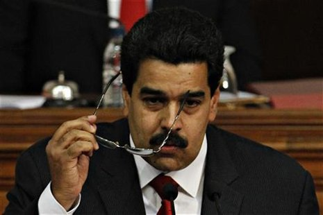 Venezuela's Vice President Nicolas Maduro delivers the state of nation address to national assembly in Caracas January 15, 2013. REUTERS/Car