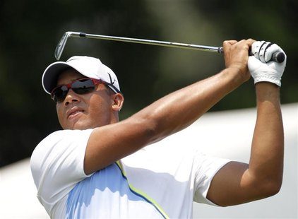 Jhonattan Vegas of Venezuela tees off on the 10th hole during the second round of the AT&T National golf tournament in Bethesda, Maryland Ju