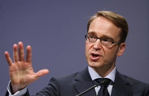 President of German Bundesbank Jens Weidmann speaks on the podium during the Frankfurt Euro Finance Week in Frankfurt November 19, 2012. REU