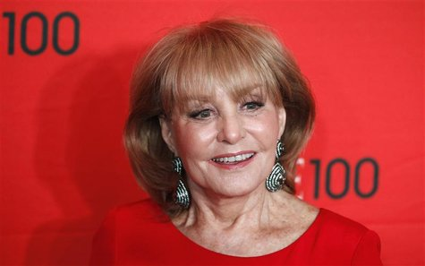 Television personality Barbara Walters arrives at the Time 100 Gala in New York, in this April 24, 2012, file photo. REUTERS/Lucas Jackson/F