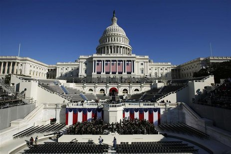 The West Front of the U.S. Capitol is pictured on the eve of the second inauguration of U.S. President Barack Obama in Washington, January 2