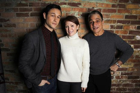 "Cast members Joseph Gordon-Levitt (L), Julianne Moore (C) and Tony Danza of the film ""Don Jon's Addiction"" pose during the Sundance Film Fes"