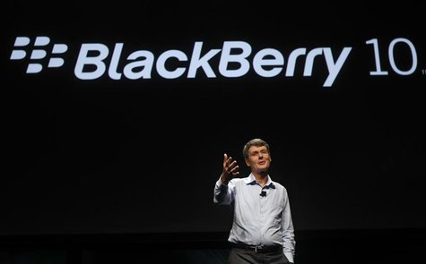 Research In Motion CEO Thorsten Heins gestures as he delivers his keynote address during the Blackberry Jam Americas in San Jose, California