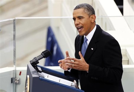 U.S. President Barack Obama speaks during swearing-in ceremonies on the West front of the U.S Capitol in Washington, January 21, 2013. REUTE