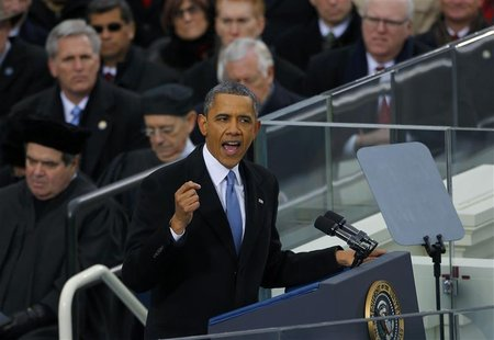 U.S. President Barack Obama delivers his inaugural address during inauguration ceremonies in Washington, January 21, 2013. REUTERS/Brian Sny