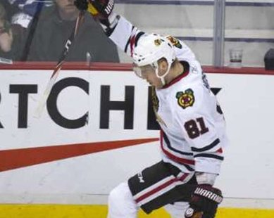 Chicago Blackhawks forward Marian Hossa. REUTERS/Andy Clark