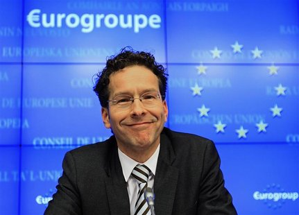 Netherlands' Finance Minister Jeroen Dijsselbloem holds his first news conference after being appointed new Eurogroup Chairman during a euro
