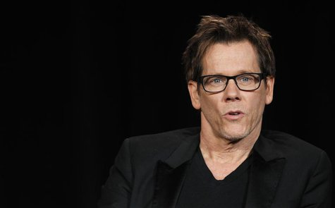 "Cast member Kevin Bacon speaks at a Fox panel for the television series ""The Following"" at the 2013 Winter Press Tour for the Television Cri"