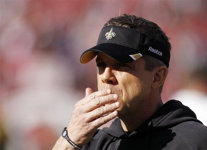 New Orleans Saints head coach Sean Payton looks on before his team met the San Francisco Giants in their NFL NFC Divisional playoff football