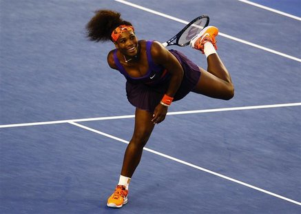 Serena Williams of the U.S. reacts during her women's singles match against Maria Kirilenko of Russia at the Australian Open tennis tourname