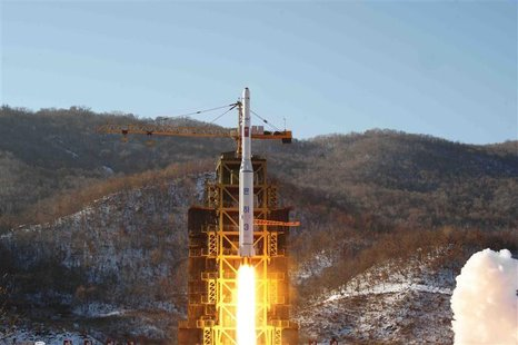 The Unha-3 (Milky Way 3) rocket carrying the second version of Kwangmyongsong-3 satellite, is launched at West Sea Satellite Launch Site in