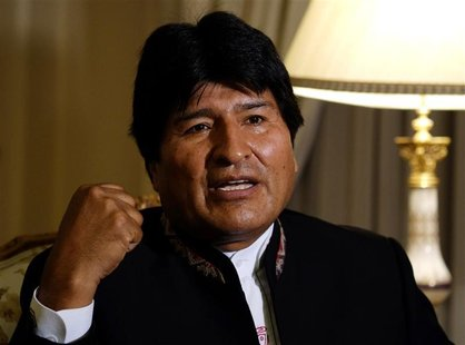 Bolivia's President Evo Morales speaks during an interview with journalists at the presidential residence in La Paz January 13, 2013. Pictur