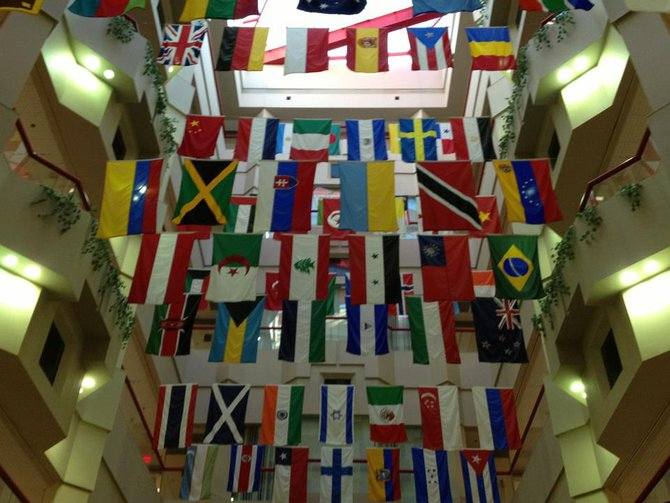 All these flags represent the countries of St Jude patients.