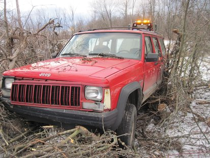Deputies say he abandoned this jeep and made a run for it.