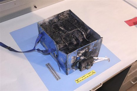 The burnt auxiliary power unit battery removed from a Japan Airlines Boeing 787 Dreamliner jet is seen in this handout photo provided by the