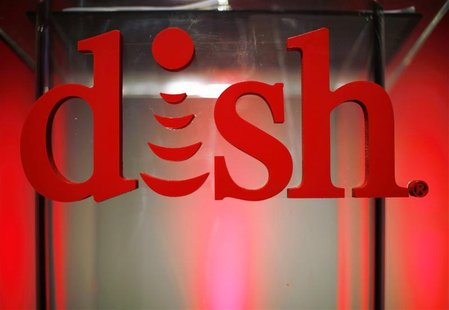 The new logo for DISH is seen on the podium before a news event to promote the company's new logo, products and services at the Consumer Ele