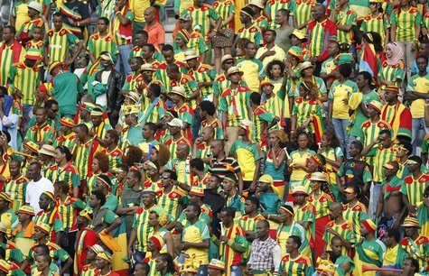 Ethiopian fans look on following the red carding of Ethiopia's goalkeeper Jemal Tassew during their African Nations Cup (AFCON 2013) Group C