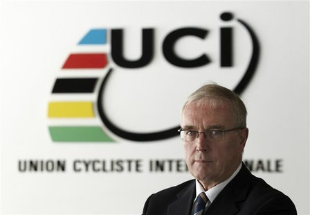 International Cycling Union (UCI) president Pat McQuaid poses before an interview with Reuters in Aigle December 13, 2012. REUTERS/Denis Bal