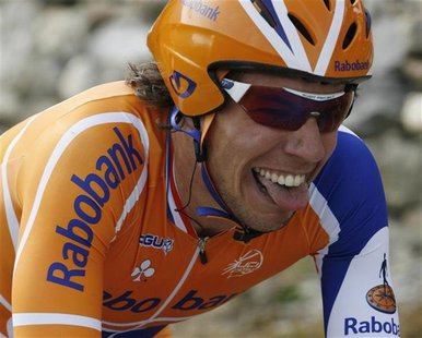 Thomas Dekker of the Netherlands cycles to finish second in the third against the clock stage of the Tour de Romandie cycling race in Sion M