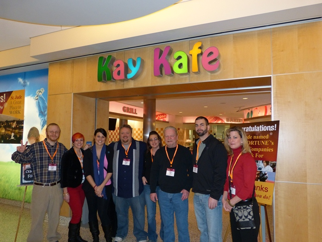 The Midwest Communications crew in front of the Kay Kafe. This is a cafe that was donated by Kay Jewelry. The special thing about this cafe is that all the food is free for families and patients. They also will make ANYTHING you want. Even if they don't offer it, they will make it happen.