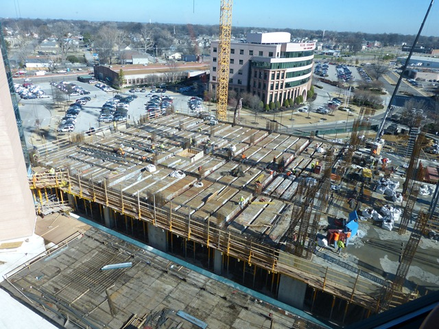 "This is the new Proton Radiation building.   The largest concrete build in Memphis and only the second facility of this kind in the entire United States.   This allows physicians to deliver targeted radiation therapy ONLY to the area with Cancer - sparing the ""good cells"" ."