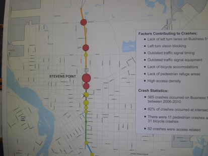 Map of crash problem areas on Business 51/Division Street in Stevens Point