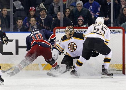 New York Rangers right wing Marian Gaborik (L) scores the game-winning goal against Boston Bruins goalie Tuukka Rask (C) in front of Bruins