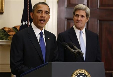 U.S. President Barack Obama (L) announces the nomination of Senator John Kerry as Secretary of State to succeed Hillary Clinton. at the Whit