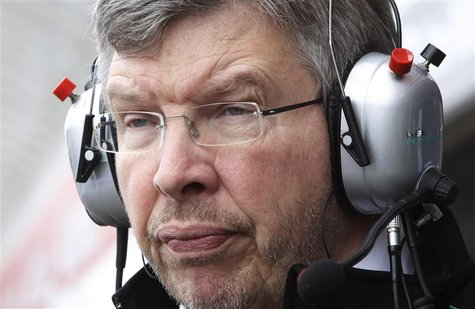 Mercedes Formula One team principal Ross Brawn follows the first practice for the German F1 Grand Prix at the Hockenheimring in Hockenheim J