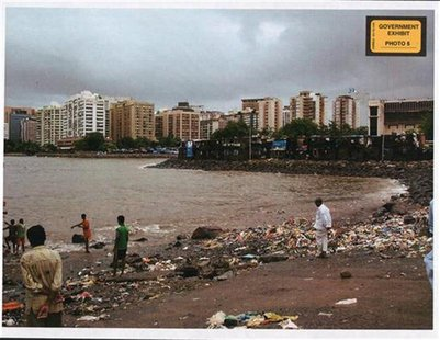 The landing site that U.S. citizen David Headley located for the Pakistani militants who carried out the 2008 assault on Mumbai, is seen in