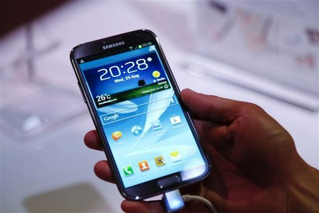 The new Samsung Galaxy Note II tablet device is pictured during Samsung Mobile Unpacked 2012 event in Berlin's Tempodrom hall ahead of the s