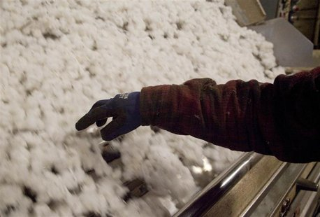 A Gin operator checks on the ginning process in Minturn, South Carolina in this November 27, 2012, file photo. The global cotton trade, whic