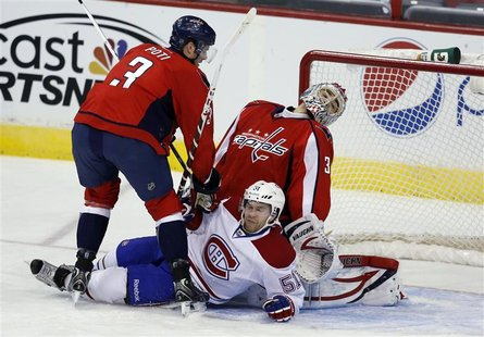 Washington Capitals goalie Michal Neuvirth reacts after David Desharnais (51) of the Montreal Canadiens crashed the crease during their NHL