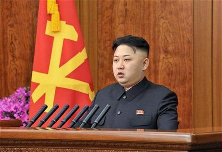North Korean leader Kim Jong-un delivers a New Year address in Pyongyang in this picture released by the North's official KCNA news agency o