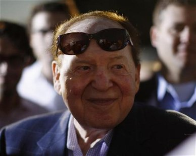 Sheldon Adelson, Chairman of Las Vegas Sands Corp, is pictured after attending U.S. Republican Presidential candidate Mitt Romney's foreign