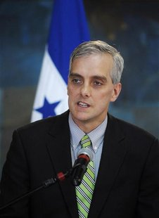 U.S. Deputy National Security Advisor Denis Mcdonough addresses the media in Tegucigalpa November 28, 2012. Macdonough is in Honduras on an