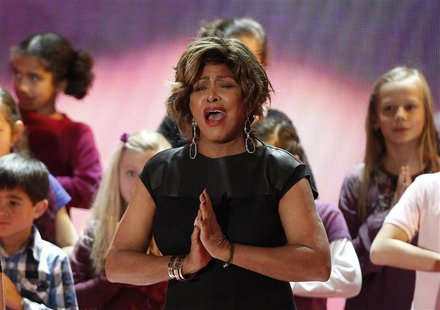 "U.S. singer Tina Turner performs during the ""Ein Herz fuer Kinder"" (A Heart for Children) TV charity telethon in Berlin, December 17, 2011."
