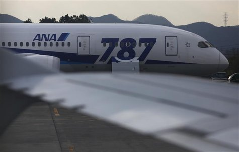 All Nippon Airways' (ANA) Boeing Co's 787 Dreamliner aircraft which made an emergency landing on last Wednesday, is seen through a window of