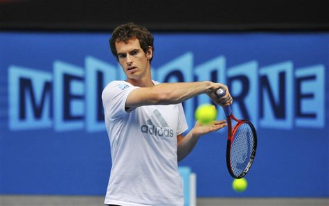 Andy Murray of Britain hits a return during a practice session at the Australian Open tennis tournament in Melbourne January 26, 2013. Murra