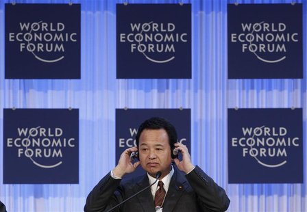 Japan's Economic Revival Minister Akira Amari attends the annual meeting of the World Economic Forum (WEF) in Davos January 26, 2013. REUTER
