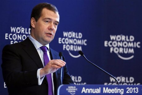 Russia's Prime Minister Dmitry Medvedev speaks during the annual meeting of the World Economic Forum (WEF) in Davos January 24, 2013. REUTER