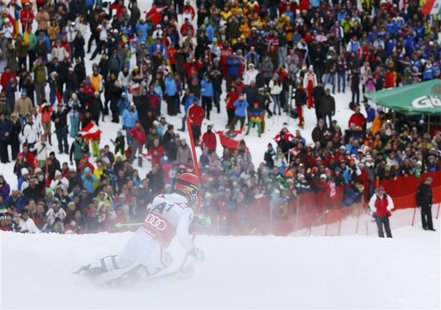 Marcel Hirscher of Austria skis to win during the second run of men's Slalom event of the Alpine Skiing World Cup in Kitzbuehel January 27,