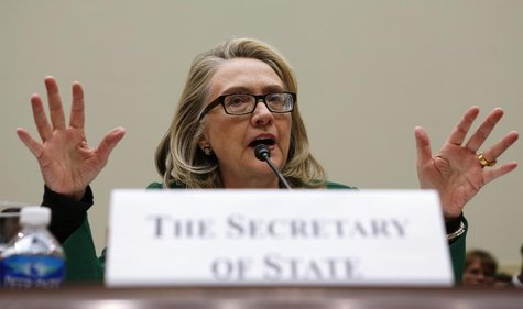 U.S. Secretary of State Hillary Clinton testifies on the September attack on U.S. diplomatic sites in Benghazi, Libya during a hearing held