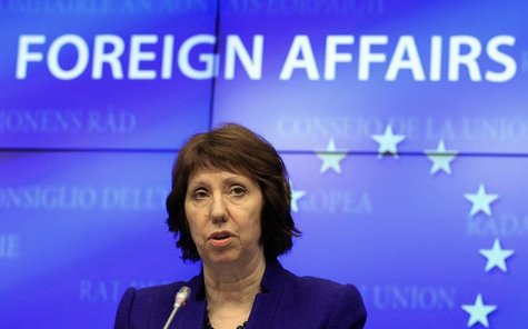 EU foreign policy chief Catherine Ashton holds a news conference after an European Union emergency foreign ministers meeting to discuss the
