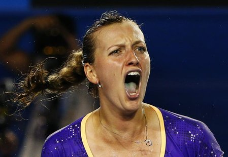 Petra Kvitova of Czech Republic reacts during her women's singles match against Laura Robson of Britain at the Australian Open tennis tourna