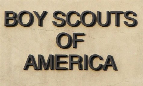 The Boy Scouts of America signage is seen on the Cushman Watt Scout Center, headquarters of the organization for the Los Angeles Area Counci