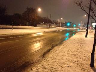 Icy, slippery roads in Green Bay early on January 28, 2013 (courtesy of FOX 11).